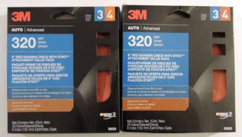"320 GRIT 30025 STIKIT PSA ADHESIVE AUTO 2 BOXES 3M 6/"" RED SANDING DISCS 50 PC"