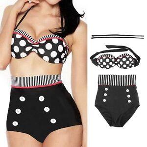 Retro-Sexy-High-Waist-Swimsuit-Bathing-Push-Up-Bikini-Set-Polka-Dot-Lot-SP