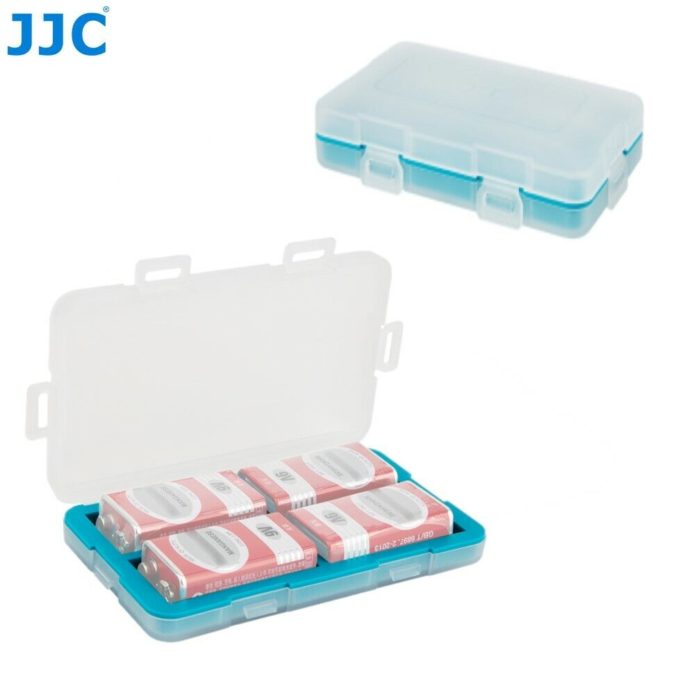 JJC Water-Resistant 9V Battery Case Box Holder Storage for 4 x 9V Batteries