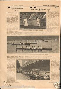 REGATES-AVIRON-USA-CANOE-ARTICLE-COMPLET-1909-ILLUSTRATION-ANTIQUE-PRINT