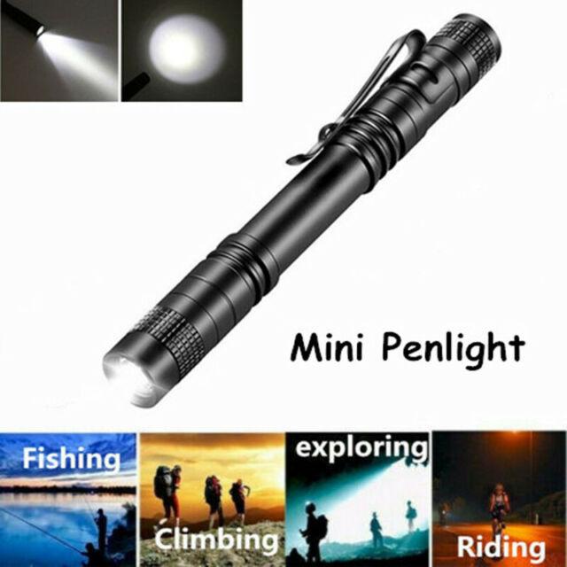 Portable USB LED Flashlight Handheld Mini Penlight Clip Pocket Pen Torch Lamp