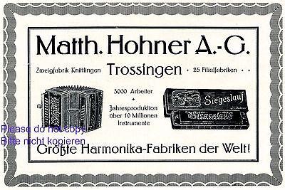 Sonstige Blechblasinstrumente GemäßIgt Hohner Harmonika Fabrik Trossingen Reklame 1916 Knittlingen Werbung Originalwerbung Vor 1950