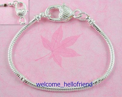 10 Silver Snake Chain Lobster Clasp Heart Charm Bracelets Fit European Beads P10