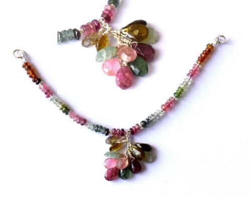 """4/"""" Solide Argent 925 Pour Collier Naturel Multi Tourmaline Perles Facettes #784"""