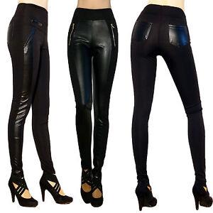 53b24a11b002d6 Damen Leggings Leggins Leder Look Streifen Hose Blickdicht Synthetik ...