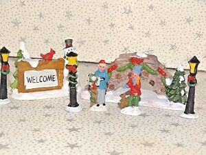 Miniature Christmas Village.Details About Mini Miniature Christmas Village House Accessories Bridge Lamp Posts Figures