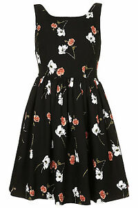 Floral per Topshop In Blackmulti di Uk Sundress Kate Print New 14 Moss wOkXPn08