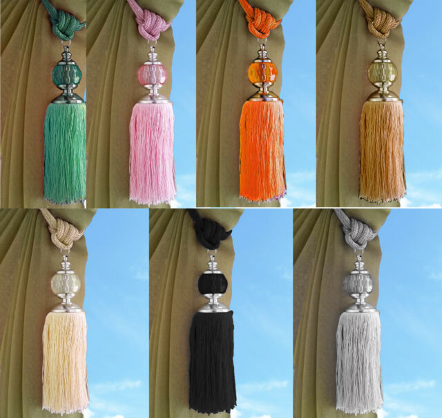 Silver Decorative Tassel Curtain Tie Back Extra Large For Sale Ebay
