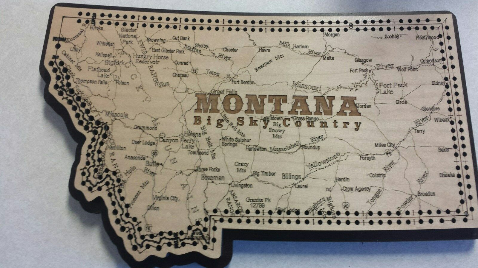 Montana State Shape Road Map Cribbage Board