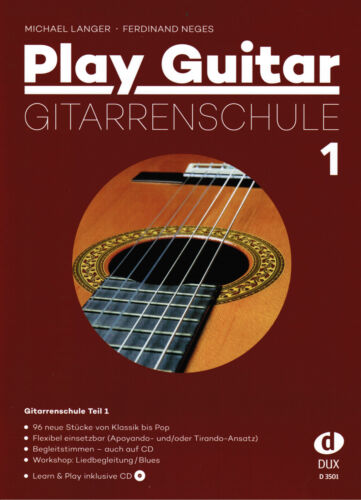 PLAY GUITAR 1 Gitarrenschule mit CD Anfänger LANGER Gitarre Noten Schule