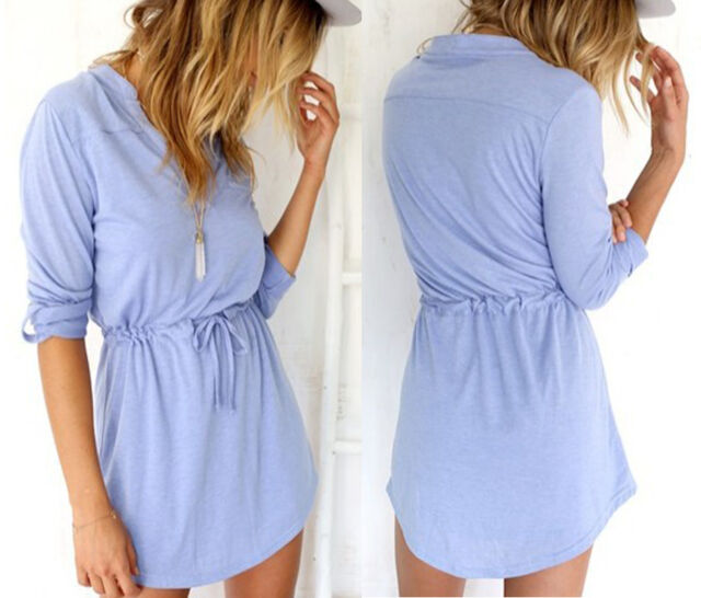 New Sexy Women Summer Casual Cotton Party Evening Cocktail Short Mini Dress S-XL