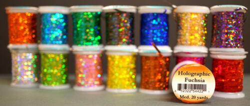 0,8mm 14 megabrilliante Farben 18 Meter Spulen Fliegen-Bindematerialien Holo Flach Tinsel MEDIUM