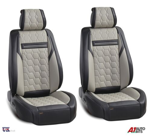 Deluxe Grey PU Leather Front Seat Covers Padded Honda Civic Accord CR-V HR-V