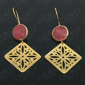 Gold-Drop-Earrings-Jade-Diamond-Semi-Precious-Gemstone-Bronze-Turkish-Ottoman