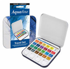 Daler Rowney travel set of 24 Half Pans Aquafine Watercolour paints tin box