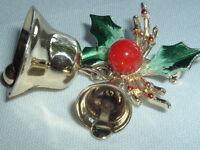 VINTAGE HOLIDAY GOLDTONE GREEN ENAMELED HOLLY CHRISTMAS BELLS BROOCH PIN