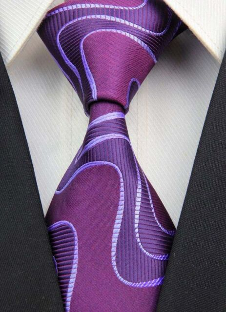 New GZ059 Purple Stripe Classic JACQUARD Woven 100%Silk Mens Tie Necktie