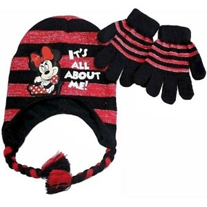 Disney-Minnie-Mouse-Girl-039-s-Black-Red-Striped-Beanie-amp-Gloves-Set-Sz-4-7