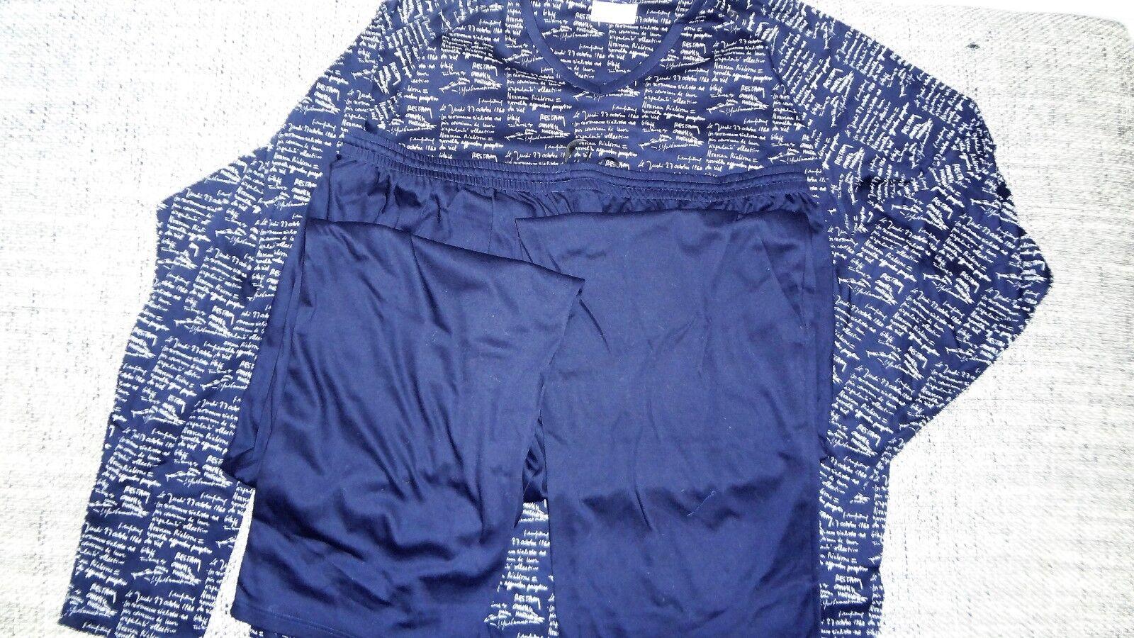 Rösch Herren Schlafanzug Pyjama Gr.62 blau/weiß Zeitung neu