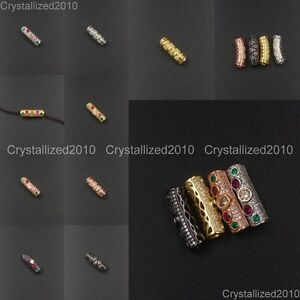 Zircon-Gemstone-Pave-Tube-Bar-Spacer-Bracelet-Connector-Charm-Beads-6mm-x-19mm