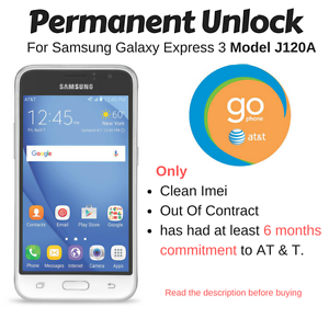 Details about Remote Unlock Code Service AT&T Samsung Galaxy Express 3  SM-J120A Go Phone
