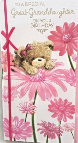 GREAT~GRANDDAUGHTER BIRTHDAY CARD ~CUTE FLORAL DESIGN QUALITY CARD /& VERSE