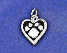 Paw Print Heart Charm Pendant Pawprint Jewelry Pet Dog Cat Sterling Silver Pl