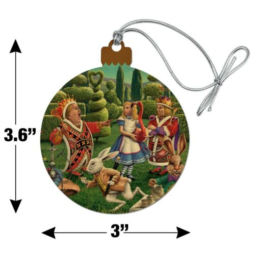 Alice in Wonderland Garden Party Wood Christmas Tree Holiday Ornament