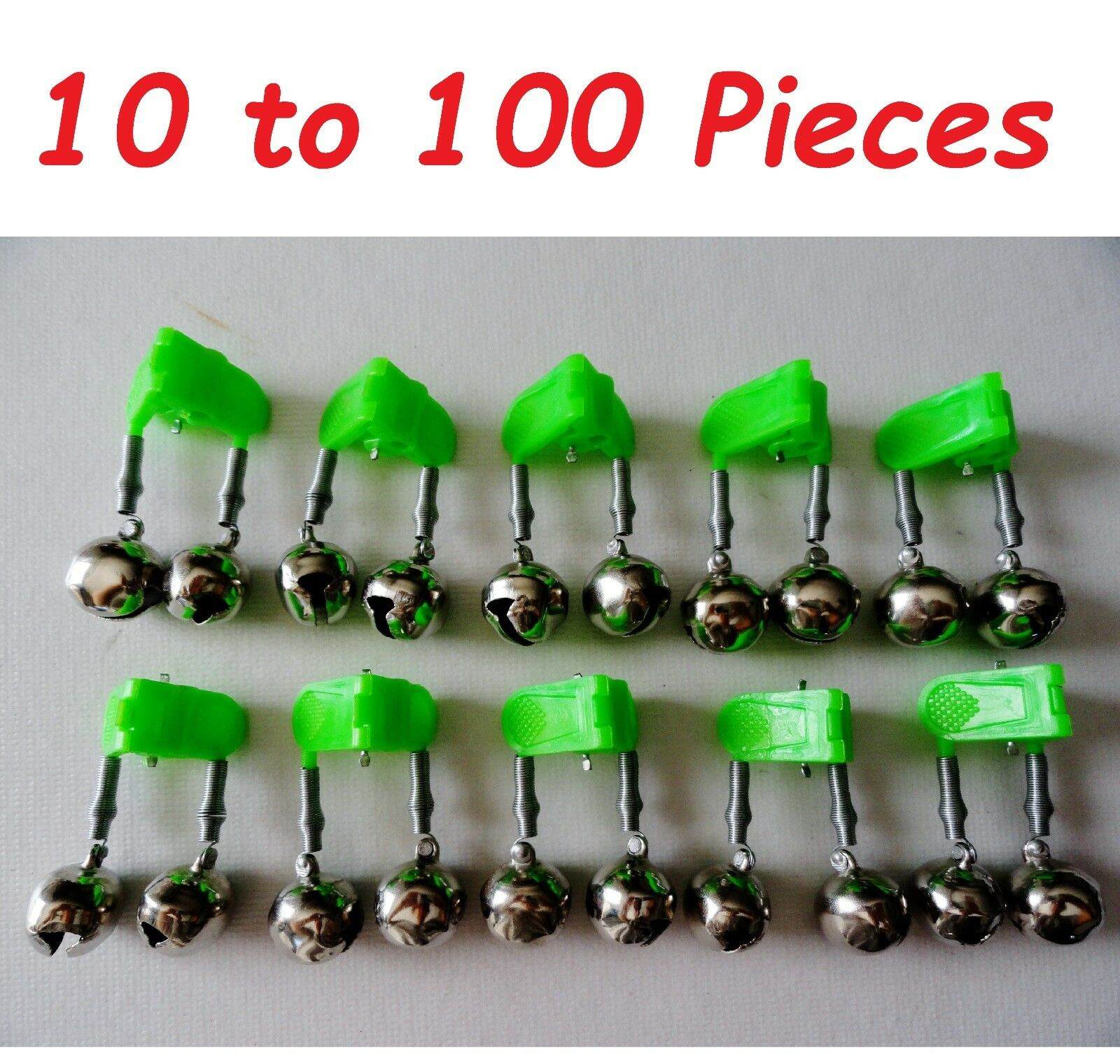 10-100 pcs  Fishing Double Bells Green Clip with Glow Holder Twin Bells  all in high quality and low price
