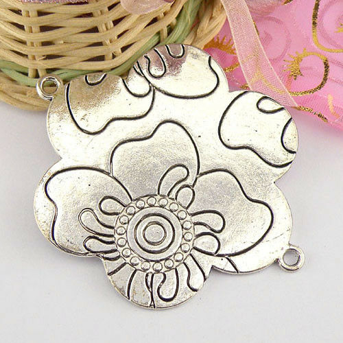 1Pcs Conectores tibetano plata flor encanto A4564