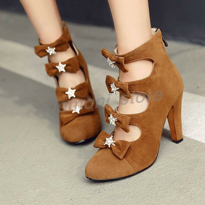 Womens Bowknot Slim Heel Hollow Out Rhinestone Round Toe Pumps Pumps Pumps Ankle Boots shoes 3424dd