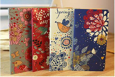 Vintage Flower & Bird Pocket Notebook Note Pads Schedule Book Diaries Journals