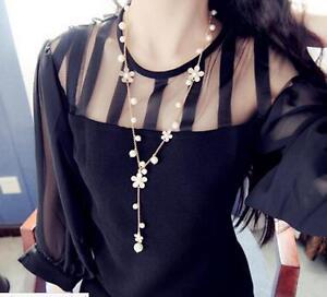 Fashion-Women-Pearl-Flower-Sweater-Chain-Long-Pendant-Necklace-Jewelry