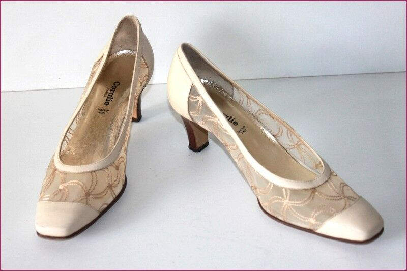 CORALIE Court shoes All Leather Dentelle Beige T 38 VERY GOOD CONDITION