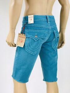 229-Big-Stitch-True-Religion-Men-Shorts-Cut-Off-29-30-Turquoise-Green
