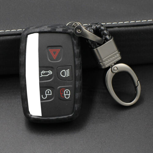 For Jaguar Car Key Fob Soft Silicone Rubber Carbon Fiber Pattern Cover Protector