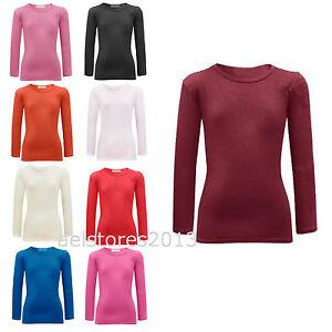 T-shirt-Uni-Manches-Longues-Fille-Coton-Hauts-Extensible-Age-2-13-Ans-Neuf