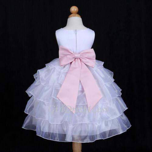 WHITE//BABY PINK TIERED ORGANZA WEDDING FLOWER GIRL DRESS 12M 18M 2 4 5//6//6T 8 10