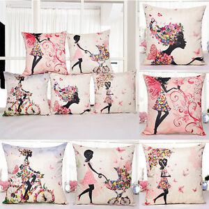 Chair-Bed-Pillow-Case-Flower-Girl-Sofa-Office-Car-Waist-Cushion-Cover-Home-Decor