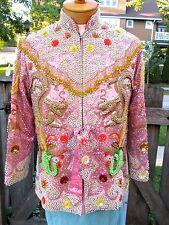 Vtg Chinese Pink Silk Hand Beaded Sequin Dragon Phoenix Jacket Blazer Shirt S M
