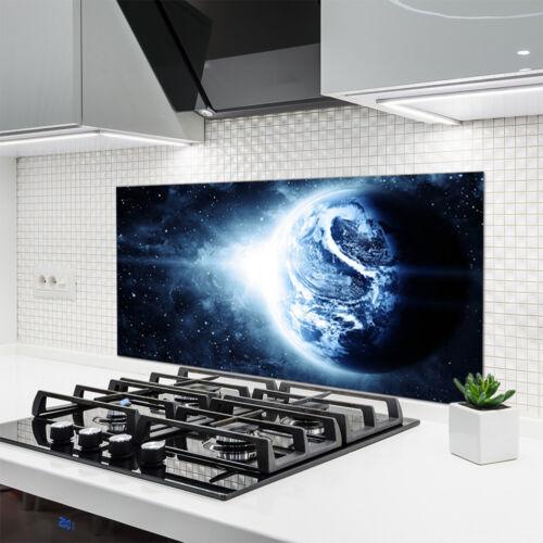 Fond de panier de cuisine en verre ESG anti-projections 120x60cm tour du monde l/'espace