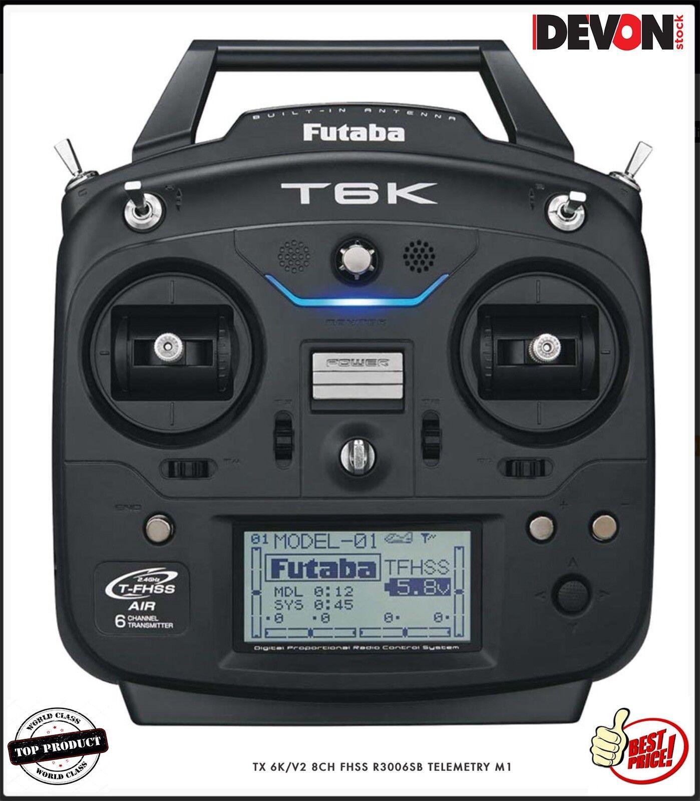 Radio mode 1 Futaba TX 6K  8CH FHSS R3006SB Elicottero Elettrico rc goblin 420