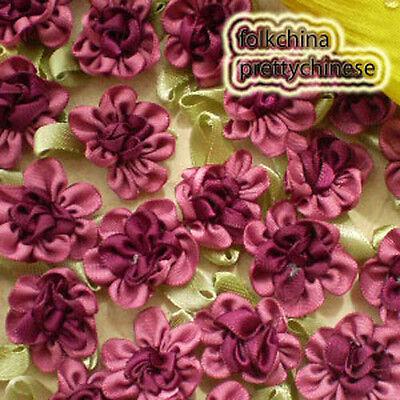 Wine Polyester Duplex Flower Sewing Scrapbooking Appliques Trim Craft JM2065