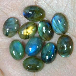 10X14-MM-Oval-Labradorite-Cabochon-Loose-Gemstone-10-Pcs-Lot-100-Natural-Gems