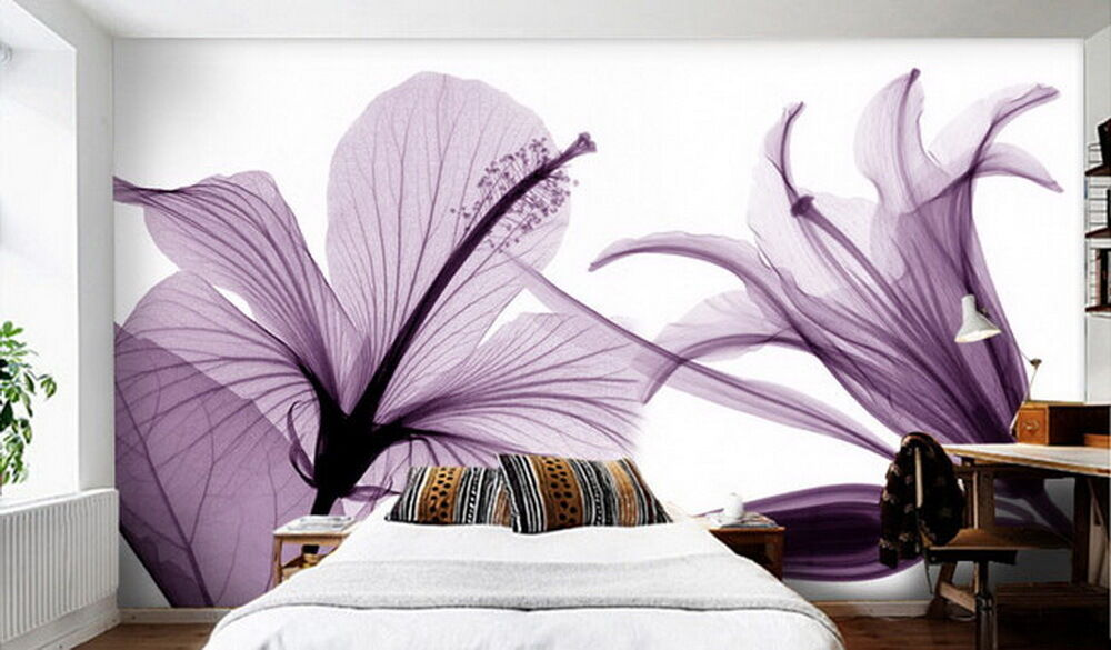 lila Flowers Wallpaper Wall Decals Wall Art Print Mural wall paper living room