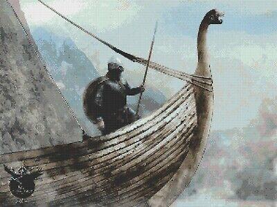 Viking embarcación # 3-Gráfico de puntada cruzada contada