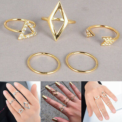 Punk Fashion Women Stack Above Knuckle Ring Band Midi Finger Rings 5PCS/Set