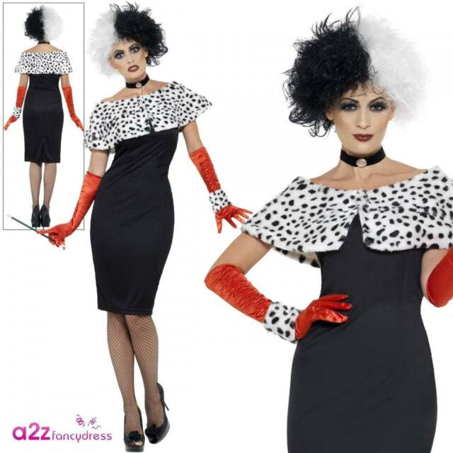 Womens Evil Madame Cruella Halloween Fancy Dress Costume Size 16-18 ... be17f77ed