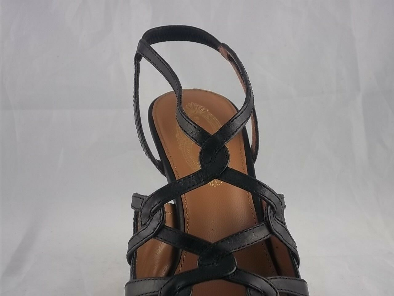 Elie Tahari Black Leather Strappy Heel size 39     9 Ankle Strap Pump High Pointed 264041