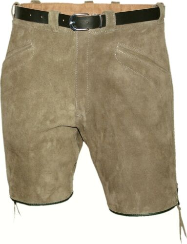 Short Sports Pants Bermuda Shorts Belt in Natural Grey Made in Germany